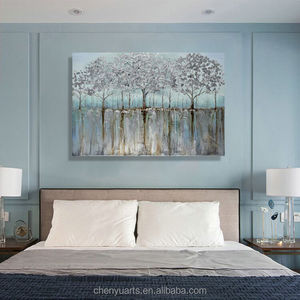 Handpainted Canvas Art Silver Tree Painting Landscape 36x48 Inch