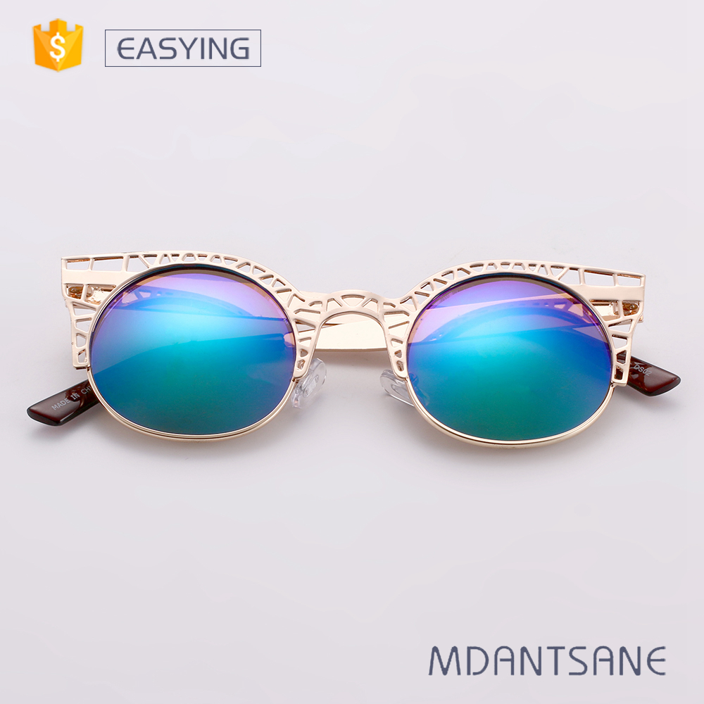 Laser carved hollow metal color changing sunglasses