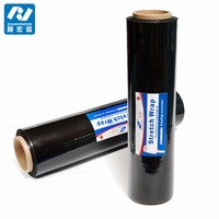 "4 Rolls BLACK Hand Pallet Shrink Wrap Plastic Stretch Film 18"" Wide x 1500 Ft. 80 Gauge"