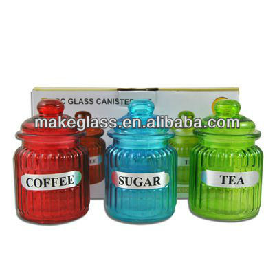 three colors glass spice seal pot lid