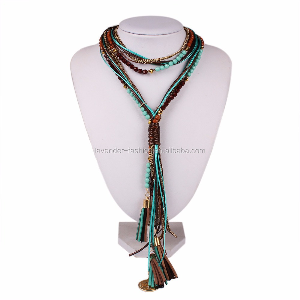 Bohemia wind Europe long hand Bead Tassel Necklace exaggerated Necklace <strong>Jewelry</strong>