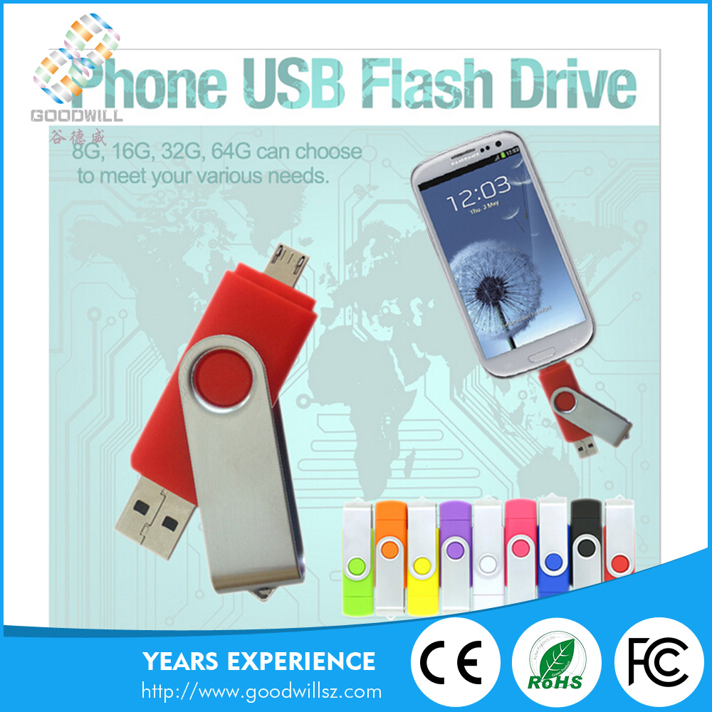 Fashion dual port android pendrive 8gb swivel