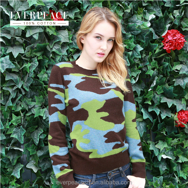 women knitted Jacquard pullover sweater