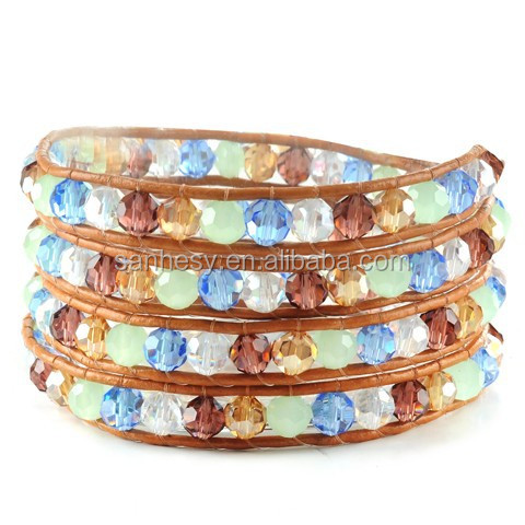 Beads Leather wrap bracelet for Easter Day