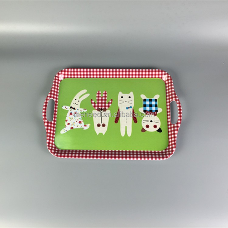 Funny new design Checkered Two Handle eco friendly kids melamine serving tray