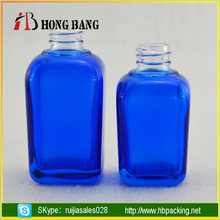 High quality empty 30ml e juice blue square glass perfume bottle with dropper