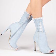 New Arrival light Blue Denim Customized Brand Ladies Open Toe High Heel Ankle Boots