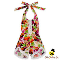 Rustic Style Summer Flower Printed Halter Sleeveless Lace Froal Baby Girl One Piece Vintage Romper Shorts Jumpsuit Clothes