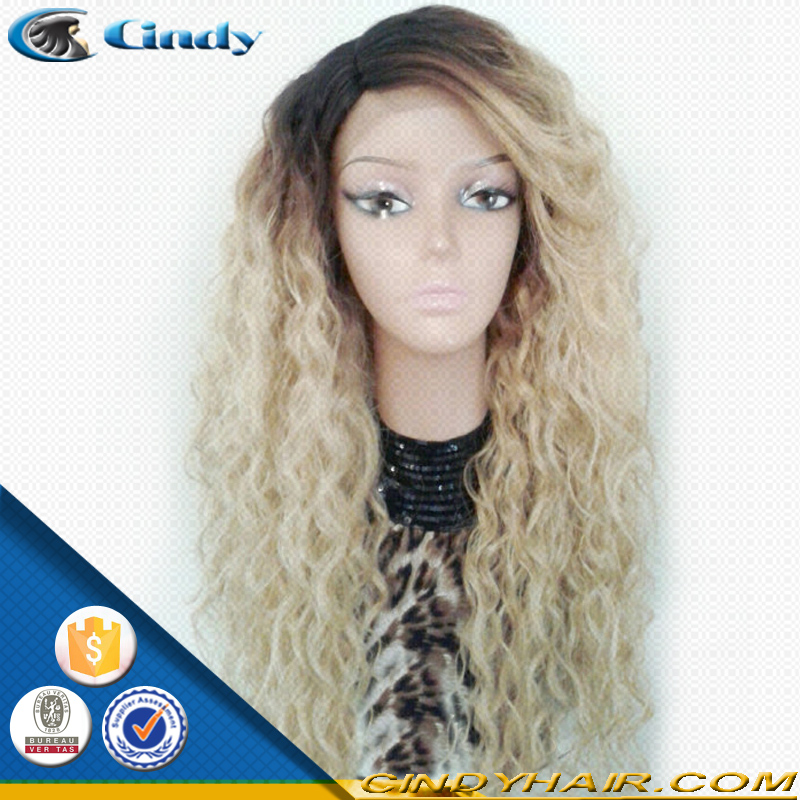 7A grade new arrival dark root blonde color <strong>150</strong>% density brazilian virgin remy human hair afro kinky curly full lace wigs