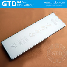 388*129mm Big size luxury white tempered glass hotel touch doorplate system