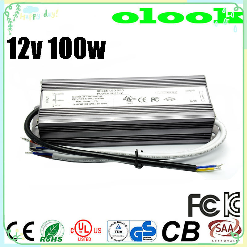 ac dc adapter 220v to 12v 100w waterproof power adapter input 100~240v ac 50/60hz for lcd monitor