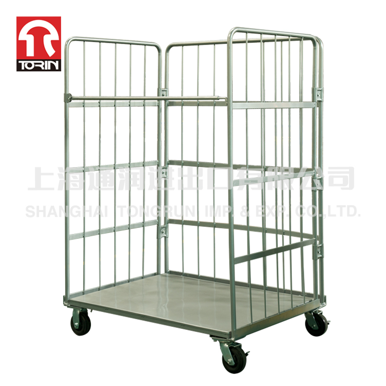 Three sides container trolley with four wheels