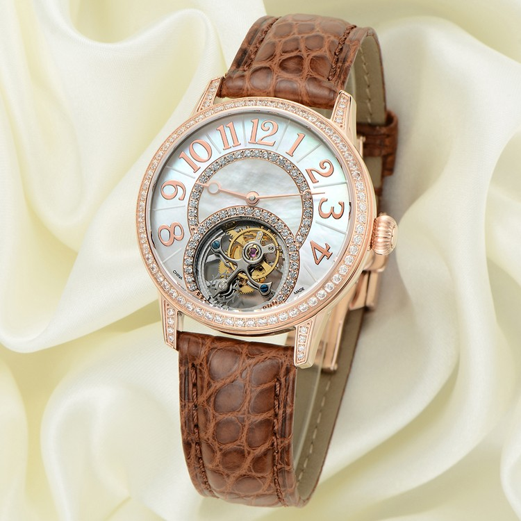 Custom Lady Tourbillon Watch Automatic Movement, Fashion Leather Strap Watch For Girls