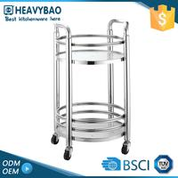 Heavybao Stainless Steel Knocked-down Fruit Juice Cart Design Casters For Tea Liquor Service Trolley