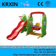 indoor and outdoor Bear Slide and Swing with Basketball Stand for family