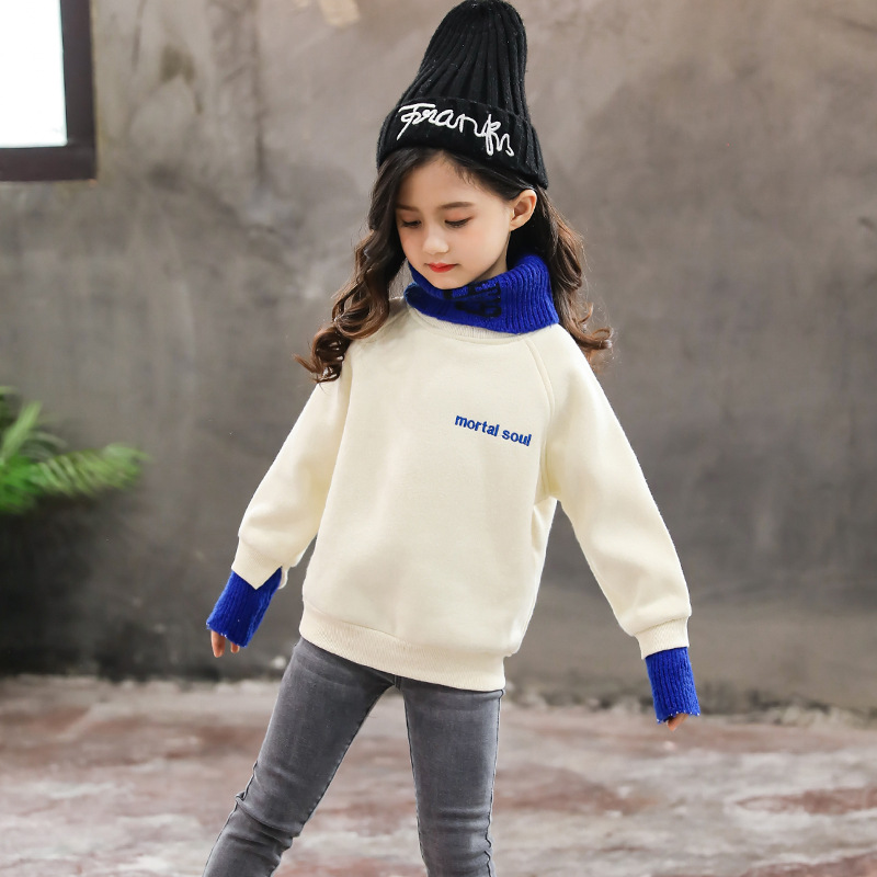 girls sweater autumn and winter models thick high collar sweater