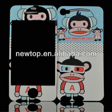 OEM ODM Mobile phone Cartoon skin screen guard for iPhone 5 (back and front)