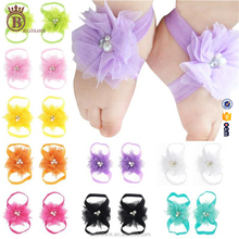 Cute Lace Flower Rhinestones Handmade Baby Foot Band Jewelry Wholesale