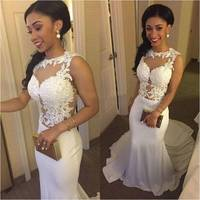Custom Made Charming Sexy Mermaid Beach Wedding Dresses See Through Lace Applique Robe De Mariage Online Shop China ML235