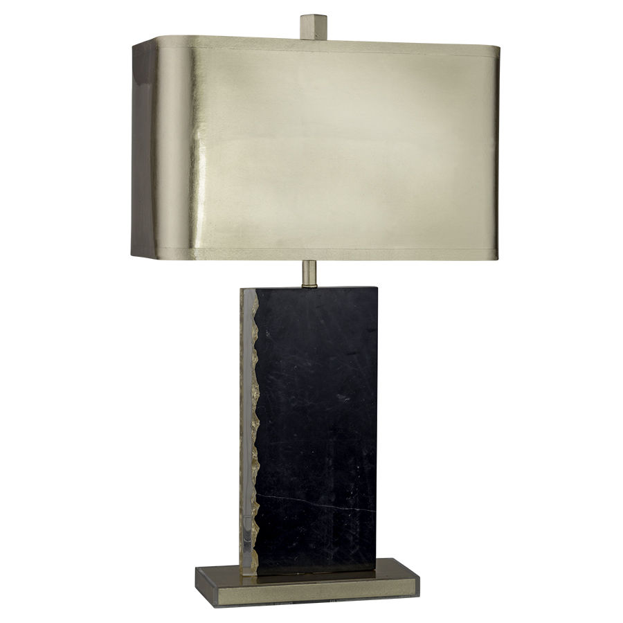 30&quot;H <strong>Black</strong> Marble Table Lamp with Gold Leaf accents,10&quot;x18&quot;<strong>x10</strong>&quot;x18&quot;x11&quot; Rectangle Gold Leaf Shade with Gold Foil lining.