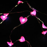 Beautiful string light LED Fairy Lights, 4 ft Ultra Thin Silver Wire, Battery, 20 Pink Hearts