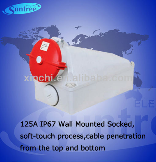 IP67 125A outlet socket,soft-touch process,cable penetration from the top and bottom