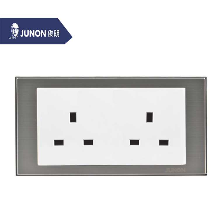 JUNON Unique Design High Quality Double 3 Pin Electric Wall Socket