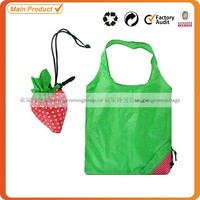 cheap 190T polyester foldable reusable shape strawberry foldable bag