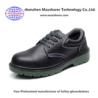 Industrial PU Injection Outsole Genuine Leather Safety Shoes with Steel Toe Cap
