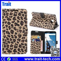 Fashion Design Leopard Pattern Flip Stand TPU+PU Leather Wallet Phone Case for Motorola Moto Google Nexus 6 with Card Slots