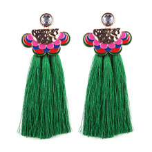 10260 Dvacaman acrylic alloy accessories retro bohemian rthic style long tassel earrings 2017 fashion intimate jewelry