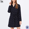 comfortable daily casual dress rolled sleeves button up dress shirt of black base,white dots
