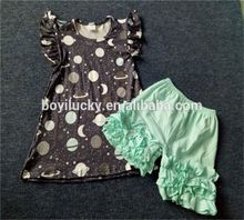 Wholesale cheap baby clothes summer floral shorts outfits boutique kids clothing