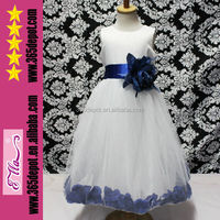 Factory Direct Sale Flower Girls White Long Tutu Dress With Blue Petal And Blue Belt