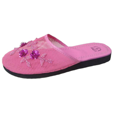 Pink 3D Flowers Mesh Upper EVA Sole Ladies Flat Home Slippers Women Sandals