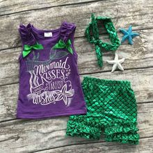 Girls Summer clothes baby girls boutique clothing girls mermaid kisses and starfish wishes outfits with matching headband