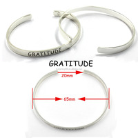 65MM Sterling Silver Engraved Brand Logo Metal Bracelet For Gift