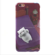 Squishy Bear phone Case, 3D Cute Soft Silicone Poke Squishy Phone Back Cover