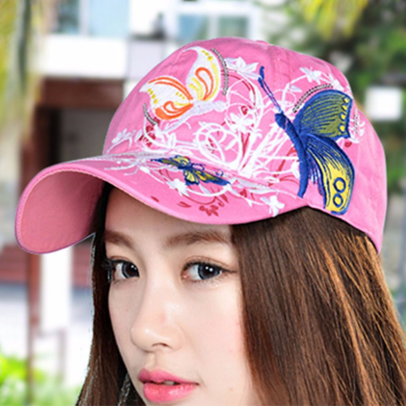 Summer Adjustable Baseball Cap Women Lady Flowers Butterfly Embroidered Golf Hat Wholesale