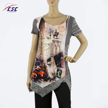 New Style custom V-neck clothing printed sublimation crop tops women