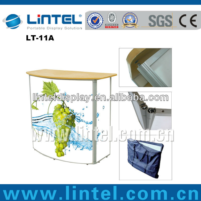 customerized aluminum promotional reception counter display