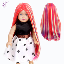 Factory Wholesale Sophisticated Style Long Straight Hair Colorful Wigs Premium Synthetic Hair 18 Inch Doll Wig
