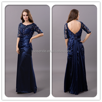 Navy Blue Long Sleeve Evening Dress Mother of the Bride Dress
