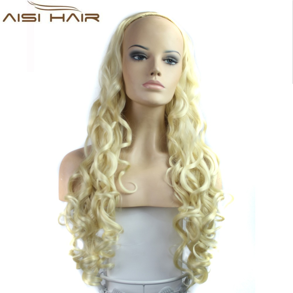 Bleach Blonde Color Women's Synthetic Hair Wigs with Long French Curl Wave Half Wigs for Women