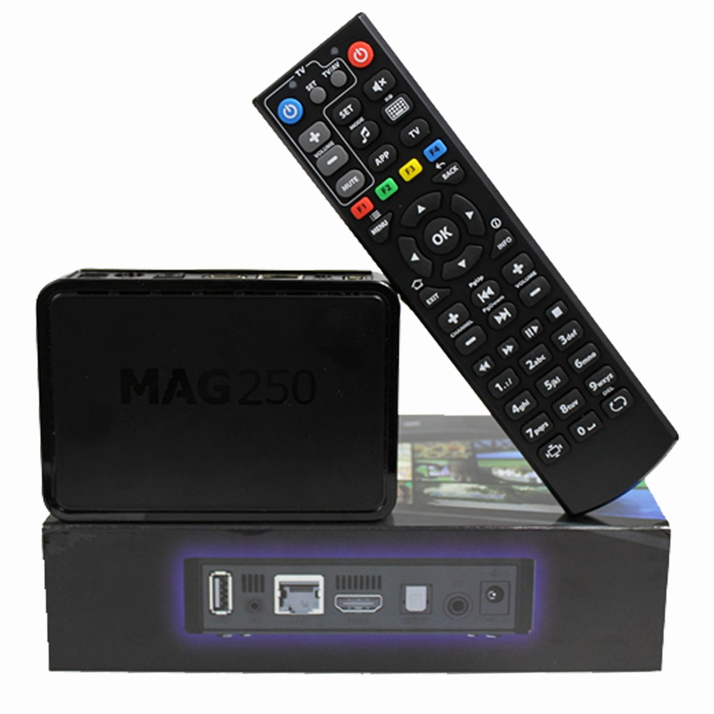 Beautiful appearance Linux System Hot iptv set top box RAM 256MB mag 250 iptv box europe channels