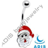 christmas belly ring,santa claus dangle,316L stainless steel navel ring