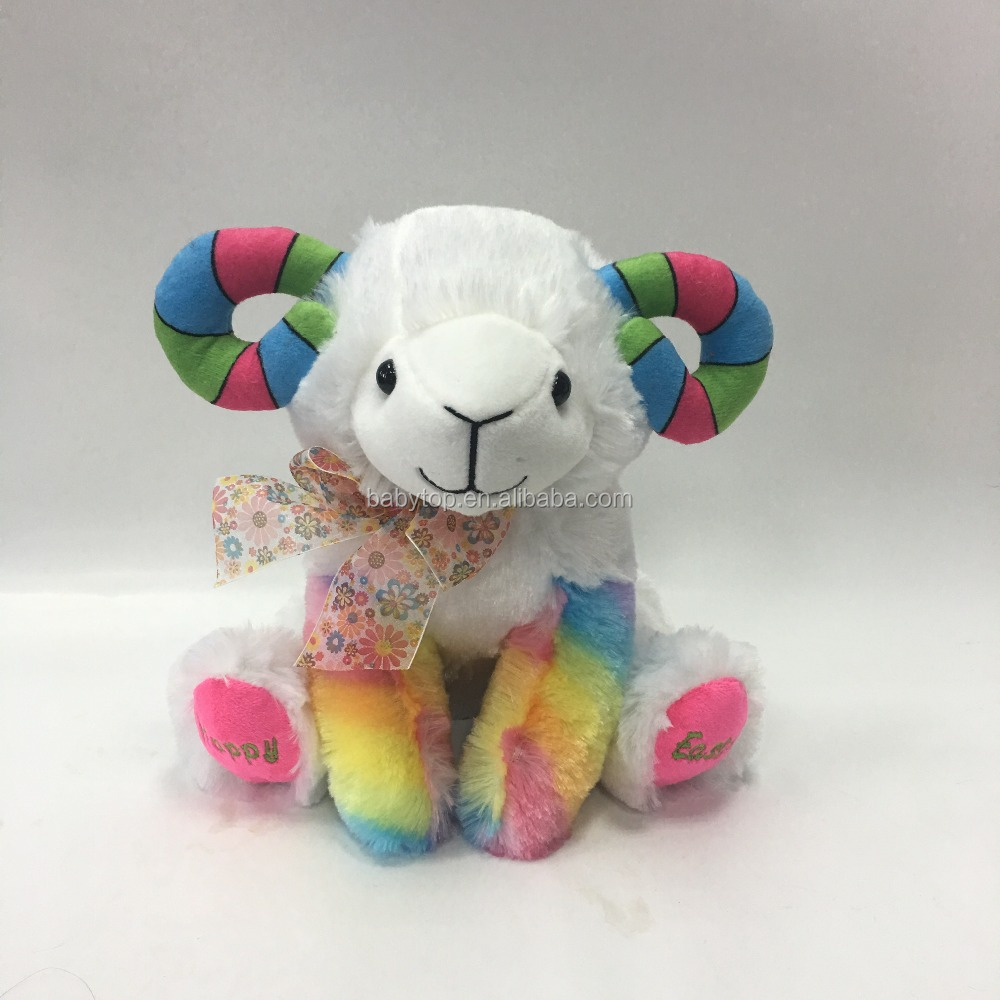 Wholesale stuffed soft animal colorful sheep plush doll toys for Easter