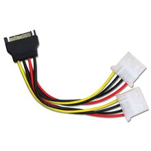 15 Pin SATA Male to 4 Pin Molex 2 Female IDE HDD Power Hard Drive Cable 20cm
