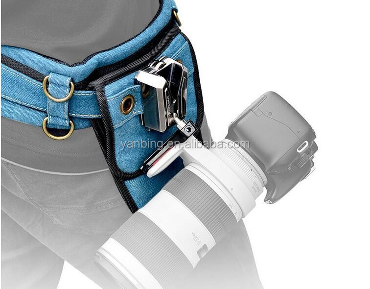 Professional universal mount button double buckle hanger camera waist belt for DSLR