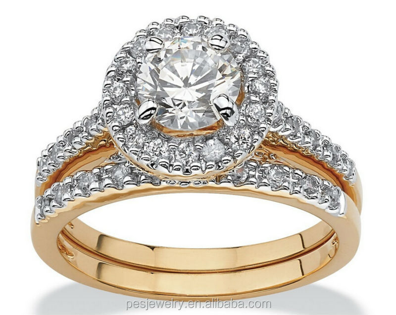 Wedding Band Set 3A Cubic Zirconia 18k yellow gold ring online shopping
